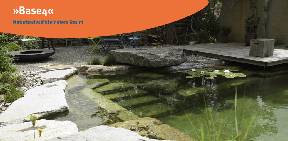 Base 4 ist das Raumwunder, ein kleines Naturbad das sich harmonischisch in kleine Gärten einfügt aus der Produktionslinie des Herstellers blueBase